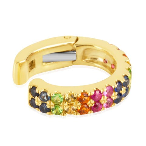 14KT Yellow Gold and Precious Gems Multicolor Rainbow Two-Row Hinged Ear Cuff Fashion Earring
