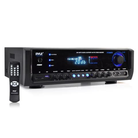 Pyle Digital Home Theater Bluetooth Stereo Receiver System with (2) Mic Inputs, MP3/USB/SD/AM/FM Radio, 300 Watt