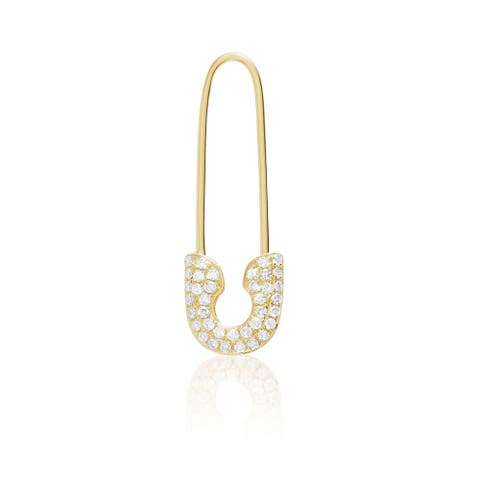 14KT Gold and Diamond Safety Pin Single Fashion Right Earring
