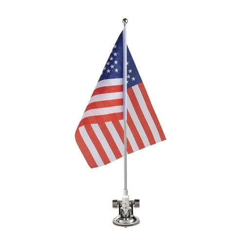 """American US Flag with Metal Stand and Suction Cup for Patriotic Vehicles, 8x11"""""""
