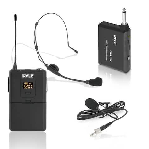 Pyle 32-Channels Wireless Microphone System Set with Headset & Lavalier Lapel Microphones, Beltpack Transmitter Mic & Receiver
