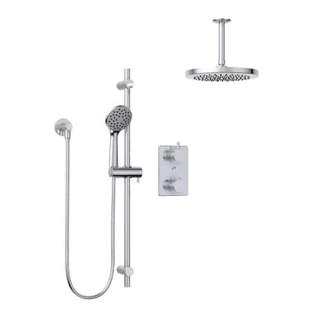 Belanger KIT-UNI140TSCP07 Thermostatic Round Shower System, from Ceiling