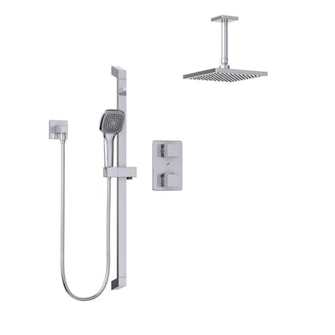 Belanger KIT-QUA140TSCP06 Thermostatic Square Shower System, from Ceiling