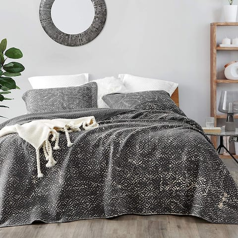 Filter Stone Washed Cotton Quilt - Pewter