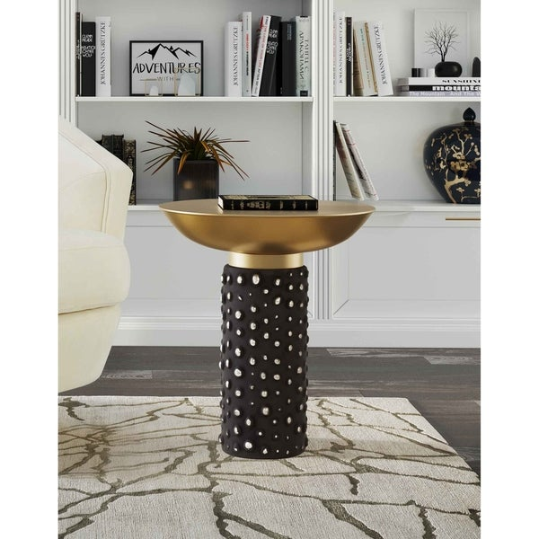 Blaze Glass and Brass Side Table