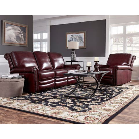 Port Burgundy Red Top Grain Leather Power Reclining Sofa and Chair