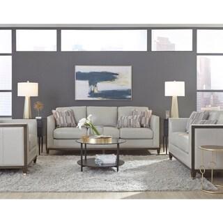 Alton Grey Top Grain Leather Modern Sofa, Loveseat and Chair