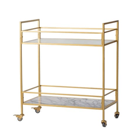 Polished Gold 2-Tier Marble and Grey Surface Cart