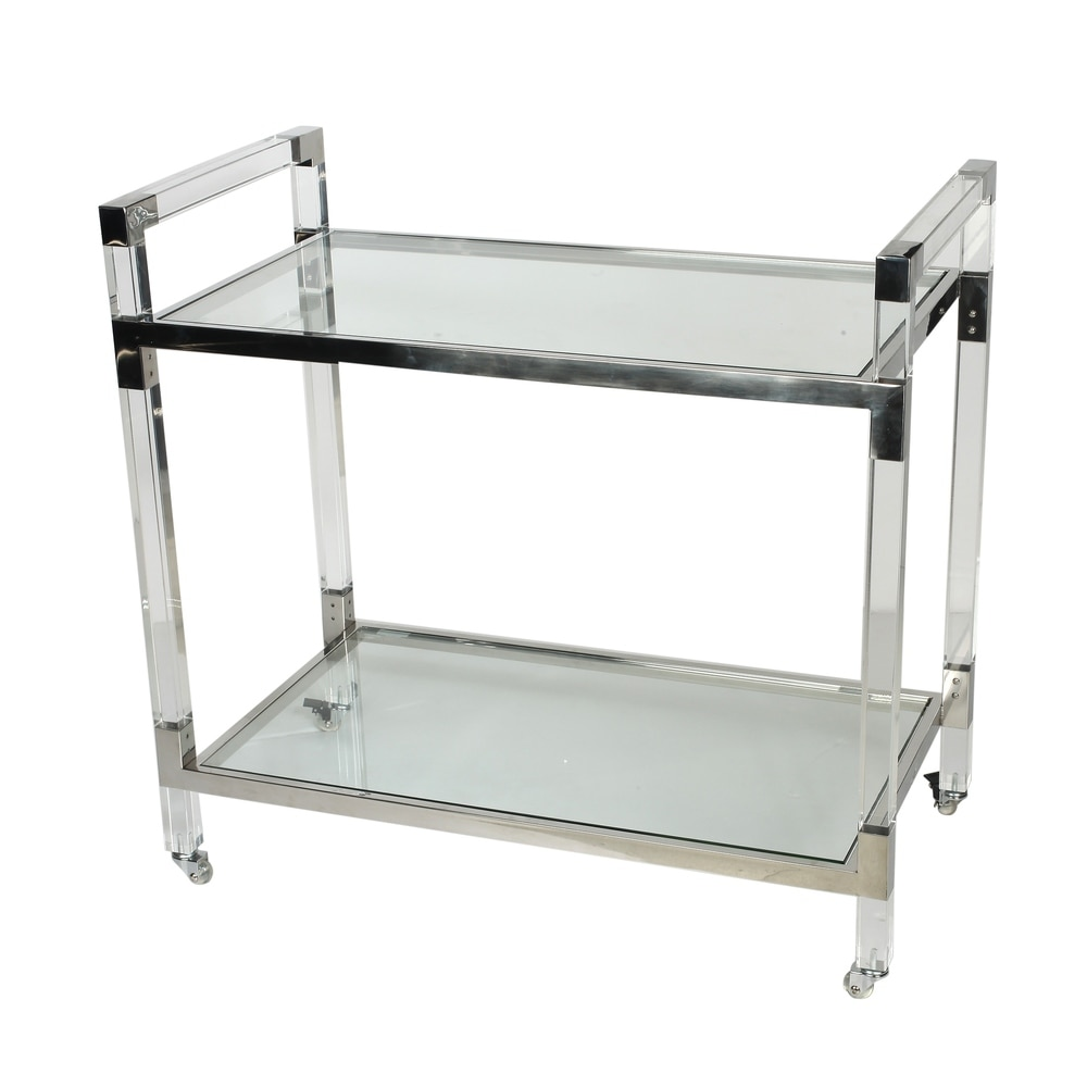 A and B Home Soho Acrylic and Glass Serving Cart Trolley Bar