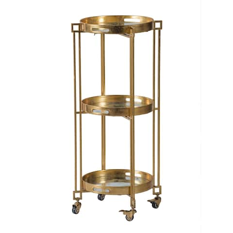 Polished Gold 3-Tier Removable Tray Cart