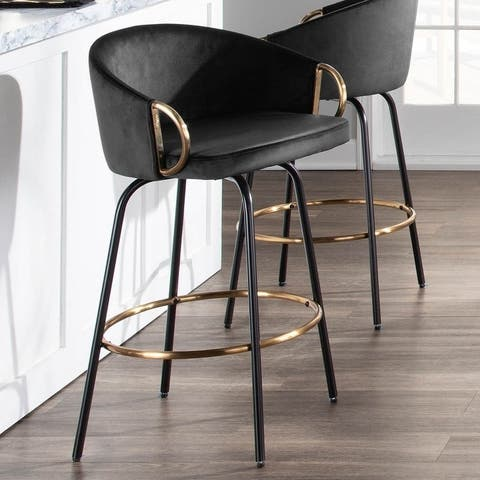 Claire Contemporary-Glam Velvet Counter Stool (Set of 2) - N/A
