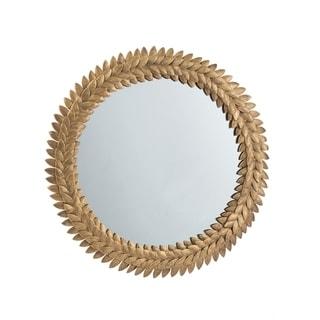 Gold 17-inch Iron Leaf Wreath Mirror