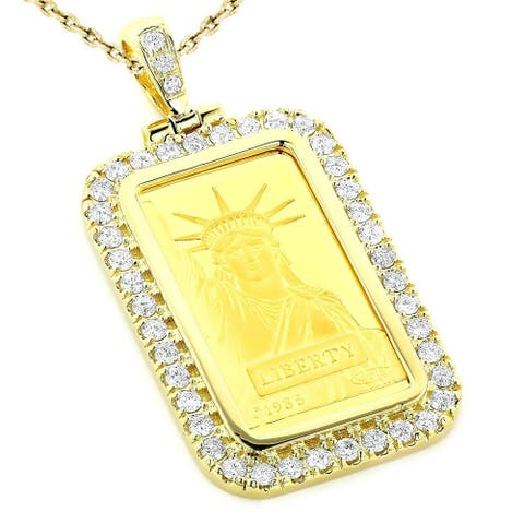 14k and 24k Yellow Gold 2.2ct TDW Diamond Necklace Statue of Liberty Diamond Pendant with Chain