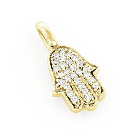 Luxurman 14k Gold 1/6ct TDW Diamond Necklace Hamsa Hand Pendant with Chain