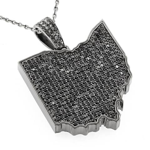 Luxurman 14k Gold over Silver 14ct TDW Black Diamond Necklace Ohio State Pendant with Chain