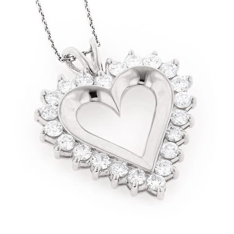 Luxurman 14k Gold 2 5/8ct TDW Round Diamond Necklace Heart Charm with Chain (H-I, SI1-SI2)