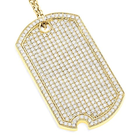 Luxurman 14k Gold 5ct TDW Diamond Necklace Iced Out Designer Dog Tag Pendant with Chain