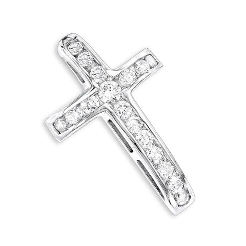 Luxurman 14k Gold 0.59ct Round Diamond Necklace Cross Pendant with Chain