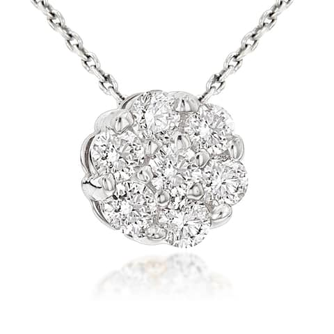 Luxurman 14K White Gold 0.5ct TDW Round Diamond Necklace Cluster Pendant with Chain