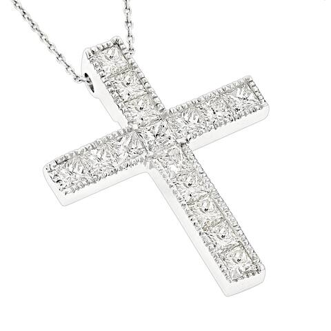 Luxurman 14k Gold 2 3/5ct TDW Princess-cut Diamond Necklace Cross Pendant with Chain
