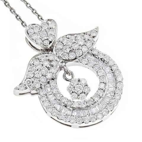 Luxurman 18k Gold 2 1/5ct TDW Diamond Necklace 'Angel Wing' Pendant with Chain