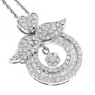 Luxurman 18k Gold 2 1 5ct TDW Diamond Necklace Angel Wing Pendant With Chain