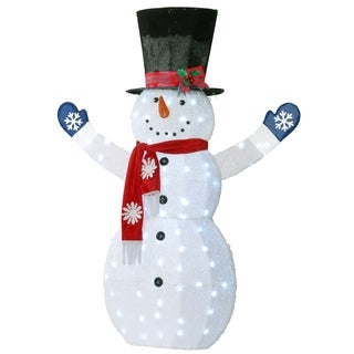 """72"""" Snowman Decoration with White LED Lights"""