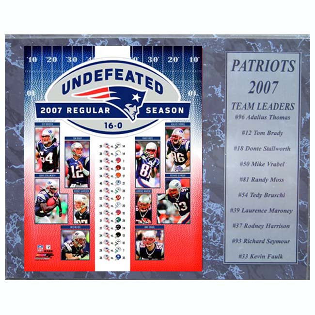 New England Patriots 2007 12x15 plaque (16-0)