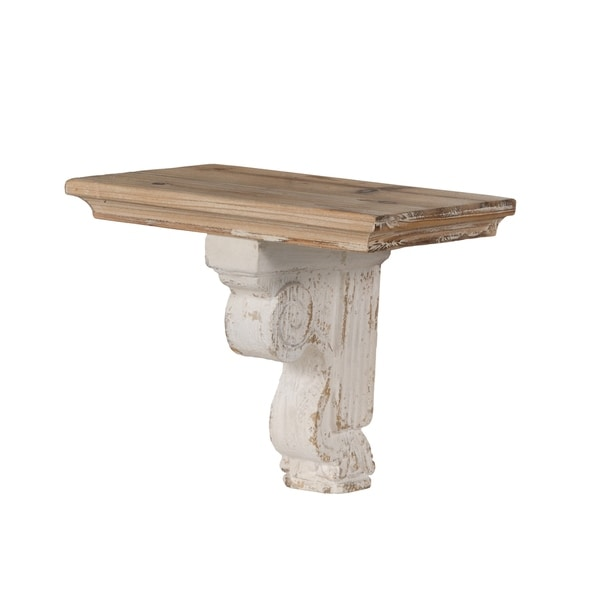 Distressed White and Natural Wood Corbel Style Wall Shelf