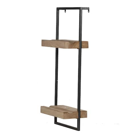 Black Iron and Natural Wood 27-inch 2-Tier Wall Shelf