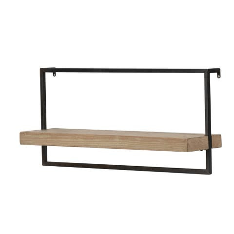 Black Iron and Natural Wood 26-inch Wall Shelf