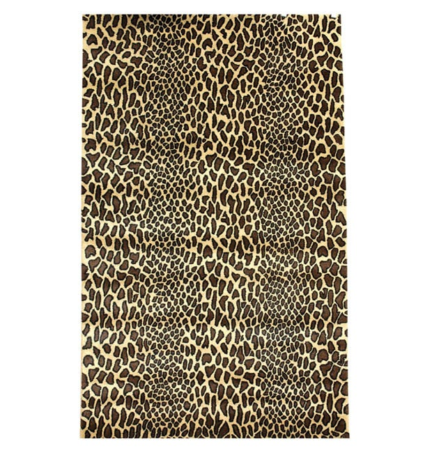 Hand-tufted Bagambari Leopard Wool Rug (8' x 10' 6)