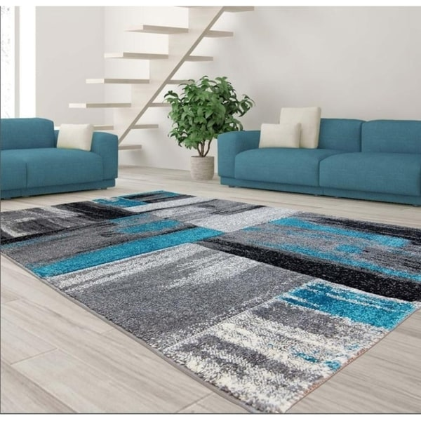 LaDole Rugs Copper Abstract Area Rug in Blue Black Grey