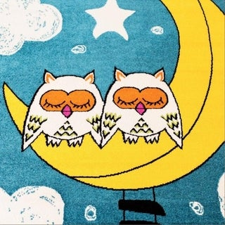 LaDole Rugs Kids Area Rug Sky Theme and Owls in Blue