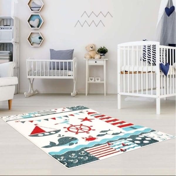 LaDole Rugs Adorable Modern Moda Kids Area Rug with Nautical White