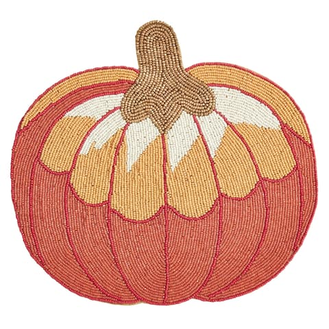 Glass Beads Placemats with Pumpkin Design (Set of 4)