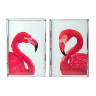 Bold Antique Silver Pink Flamingo Wall Art (Set of 2)