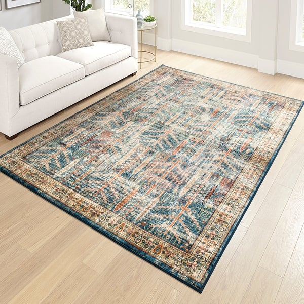 "Orian Meadow Safavid Blue Area Rug - 5'3"" x 7'6"""