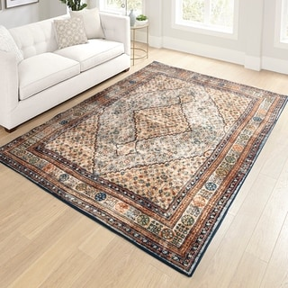 "Orian Meadow Excalibur Thatch Light Blue Area Rug - 5'3"" x 7'6"""
