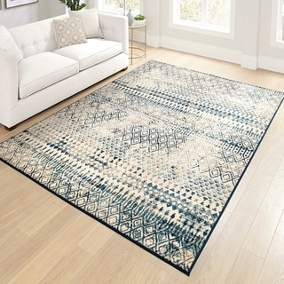 """Orian Meadow Carrier White Thatch Area Rug - 5'3"""" x 7'6"""""""