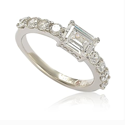 Suzy Levian Sterling Silver Asscher Cut Cubic Zirconia Bridal Eternity Band