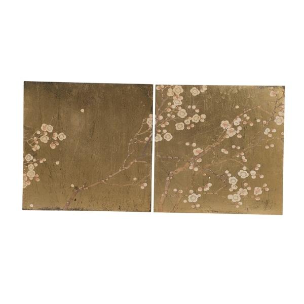Gold Cherry Blossom Paneled Wall Art (Set of 2)