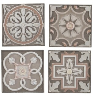 Earth Tone Handcarved Wooden Wall Art (Set of 4)