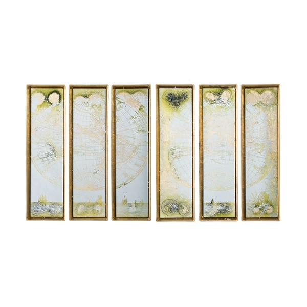 Antique Gold World Map Wall Art (Set of 6)