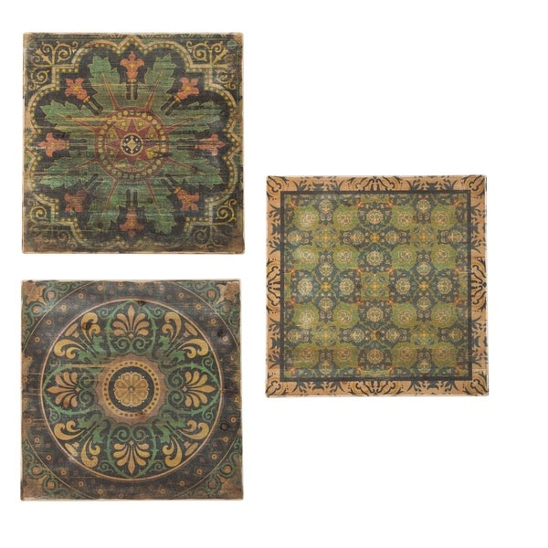 Patterened Multi-Color Square Wooden Wall Art (Set of 3)