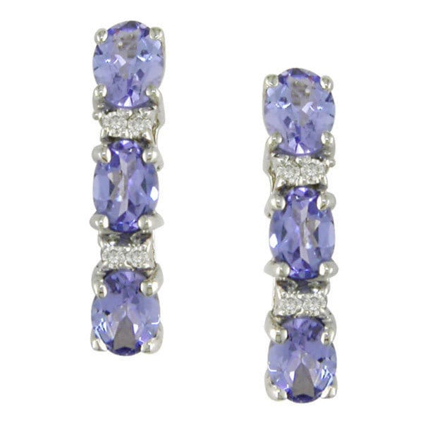 Miadora 10k White Gold Tanzanite and Diamond Earrings