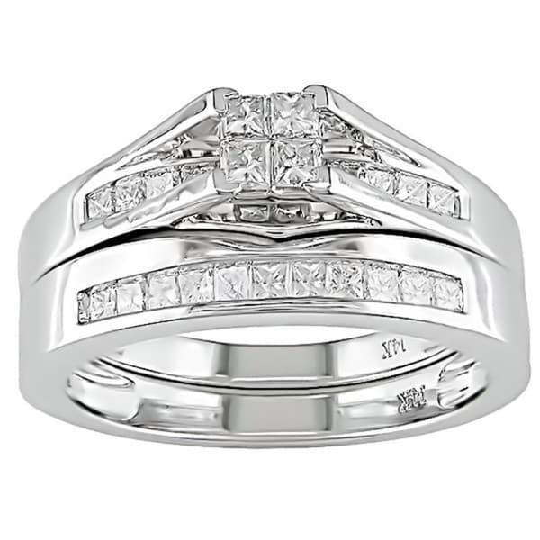 Miadora 14k White Gold 1/2ct TDW Diamond Bridal Ring Set (H-I, I1-I2)