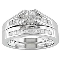 Miadora 14k White Gold 1/2ct TDW Diamond Bridal Ring Set
