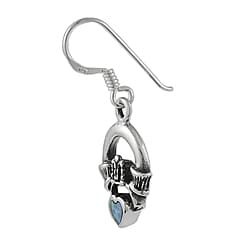 Journee Collection  Sterling Silver Claddagh Created Opal Heart Earrings - Thumbnail 1