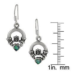 Journee Collection  Sterling Silver Claddagh Created Opal Heart Earrings - Thumbnail 2